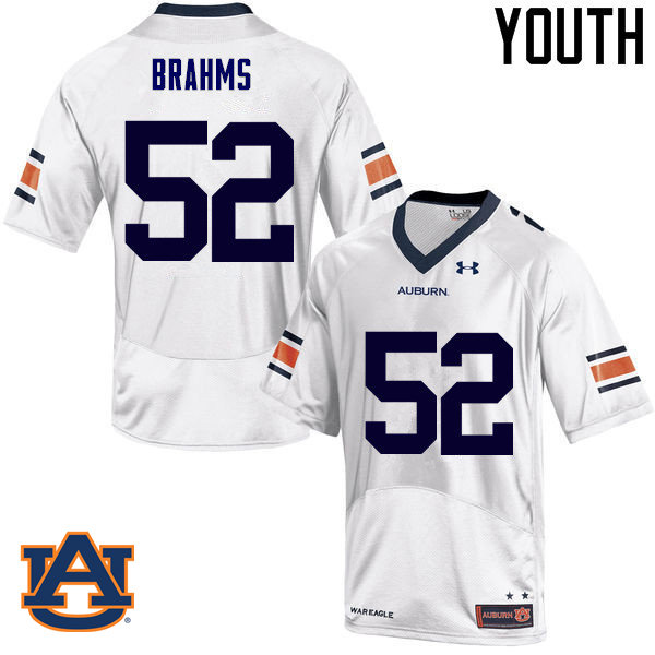 Youth Auburn Tigers #52 Nick Brahms College Football Jerseys Sale-White