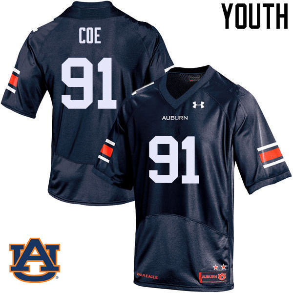 Youth Auburn Tigers #91 Nick Coe College Football Jerseys Sale-Navy