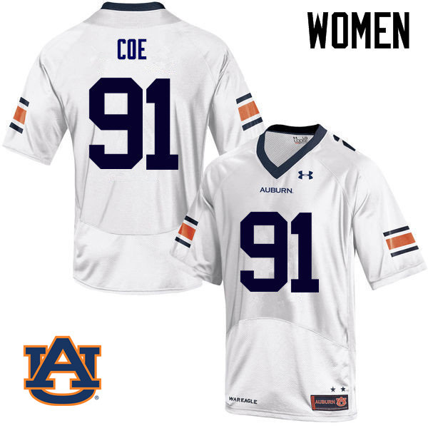 Women Auburn Tigers #91 Nick Coe College Football Jerseys Sale-White