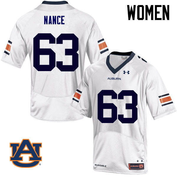 Women Auburn Tigers #63 Peyton Nance College Football Jerseys Sale-White