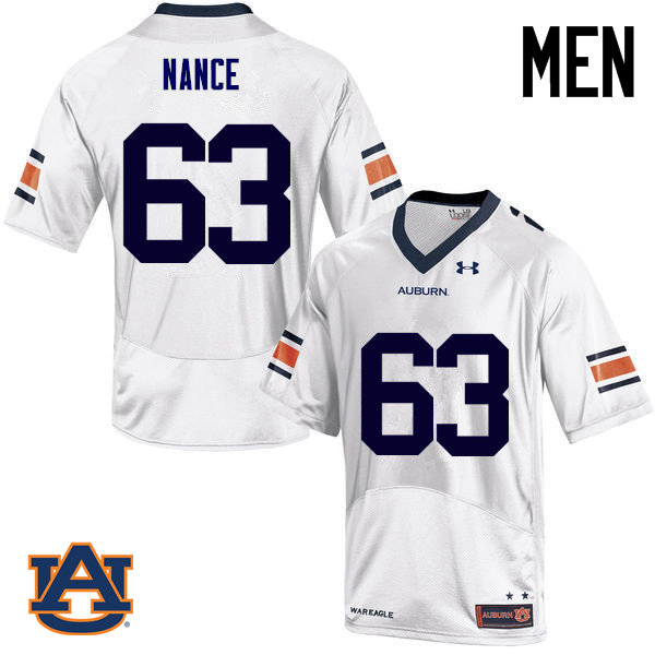 Men Auburn Tigers #63 Peyton Nance College Football Jerseys Sale-White