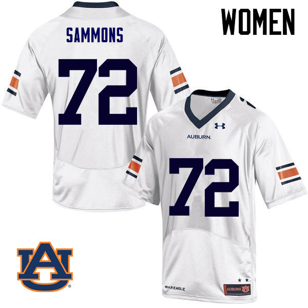 Women Auburn Tigers #72 Prince Micheal Sammons College Football Jerseys Sale-White