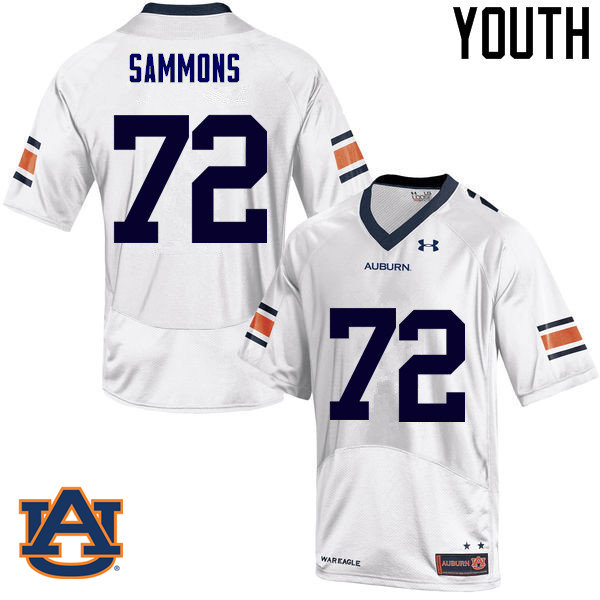 Youth Auburn Tigers #72 Prince Micheal Sammons College Football Jerseys Sale-White