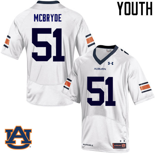 Youth Auburn Tigers #51 Richard McBryde College Football Jerseys Sale-White