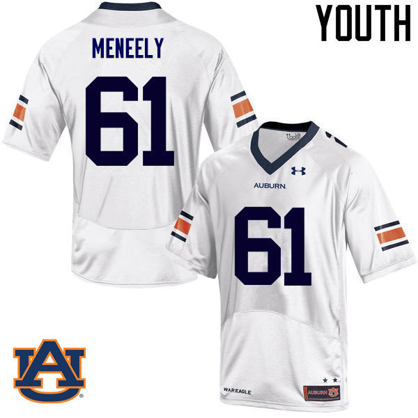 Youth Auburn Tigers #61 Ryan Meneely College Football Jerseys Sale-White