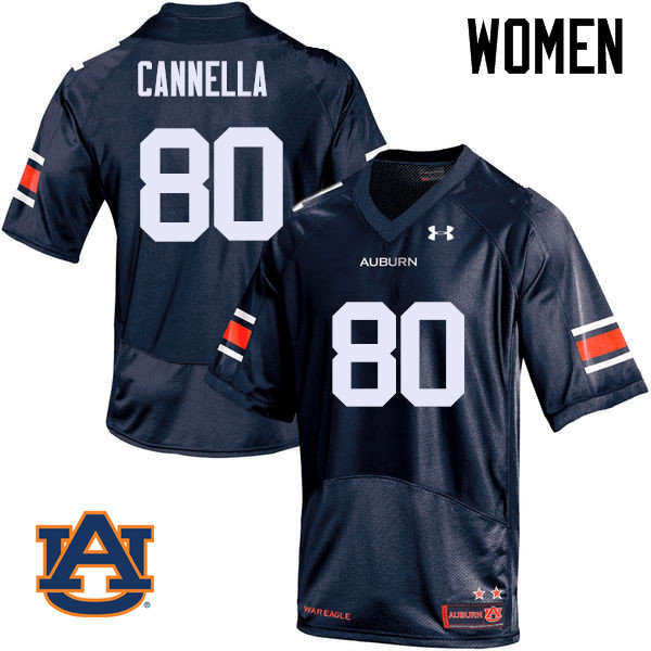 Women Auburn Tigers #80 Sal Cannella College Football Jerseys Sale-Navy