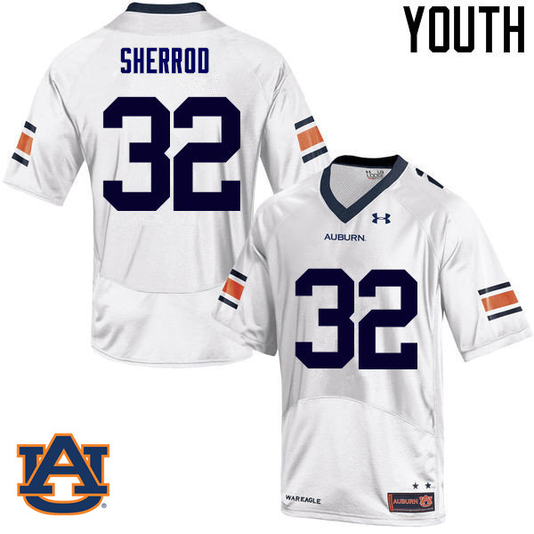 Youth Auburn Tigers #32 Sam Sherrod College Football Jerseys Sale-White