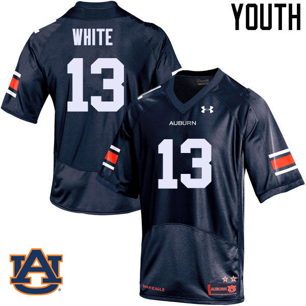 Youth Auburn Tigers #13 Sean White College Football Jerseys Sale-Navy