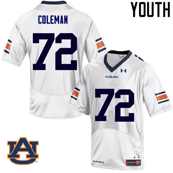 Youth Auburn Tigers #72 Shon Coleman College Football Jerseys Sale-White