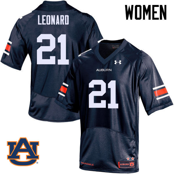 Women Auburn Tigers #21 Traivon Leonard College Football Jerseys Sale-Navy
