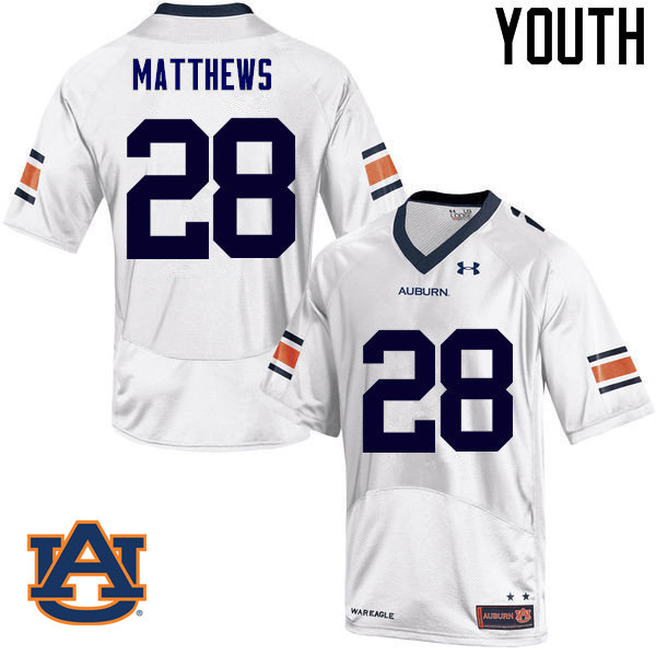 Youth Auburn Tigers #28 Tray Matthews College Football Jerseys Sale-White