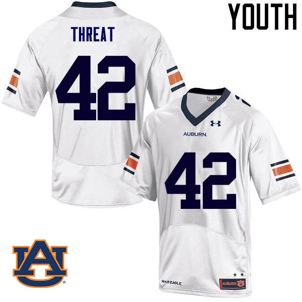 Youth Auburn Tigers #42 Tre Threat College Football Jerseys Sale-White