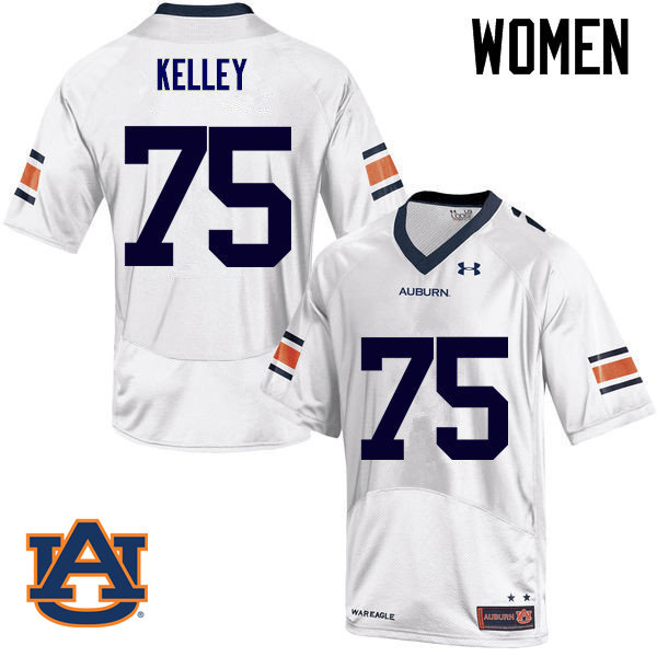Women Auburn Tigers #75 Trent Kelley College Football Jerseys Sale-White