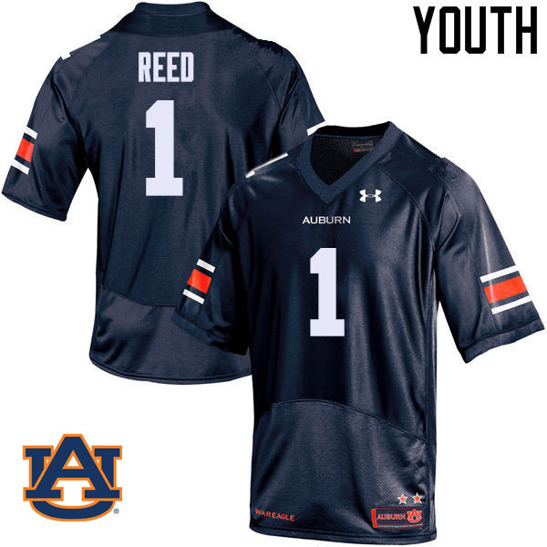Youth Auburn Tigers #1 Trovon Reed College Football Jerseys Sale-Navy