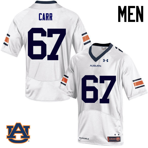 Men Auburn Tigers #67 Tyler Carr College Football Jerseys Sale-White