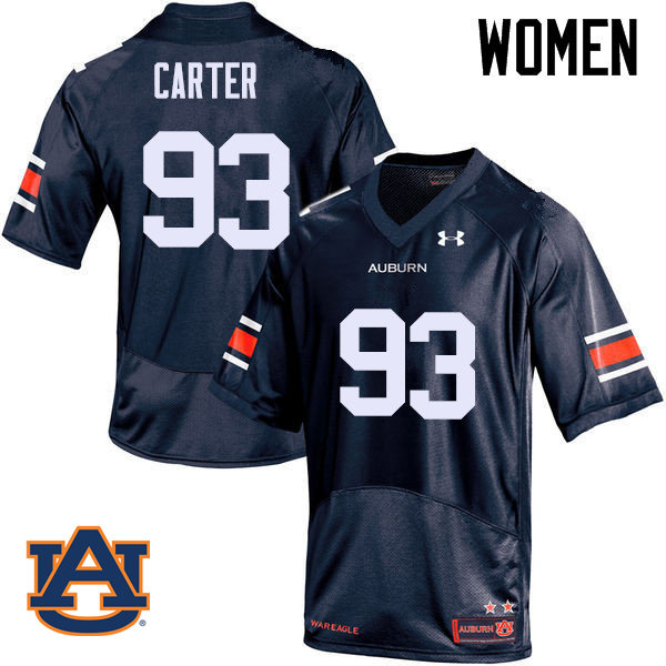 Women Auburn Tigers #93 Tyler Carter College Football Jerseys Sale-Navy