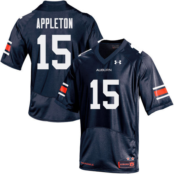 Men Auburn Tigers #15 Wil Appleton College Football Jerseys Sale-Navy