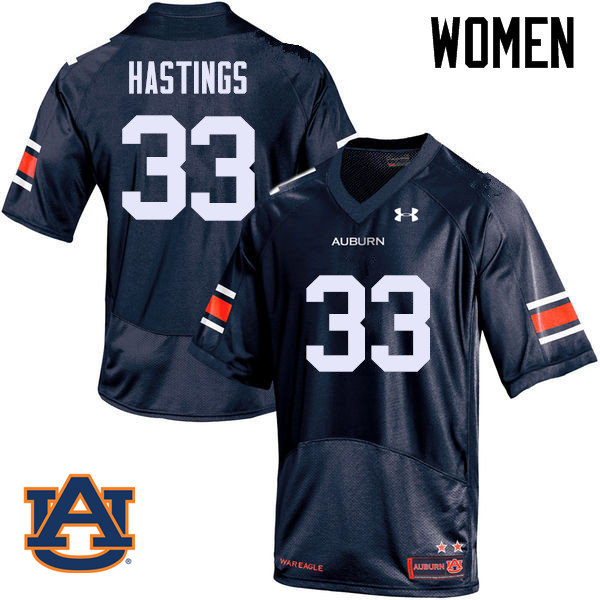 Women Auburn Tigers #33 Will Hastings College Football Jerseys Sale-Navy