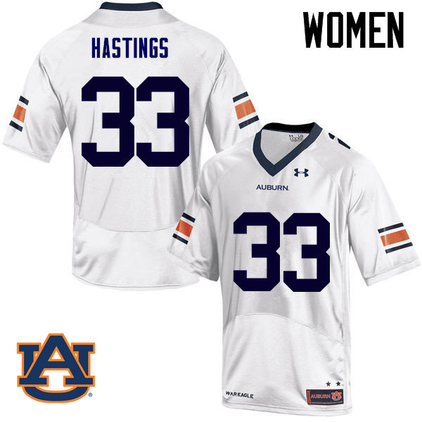 Women Auburn Tigers #33 Will Hastings College Football Jerseys Sale-White