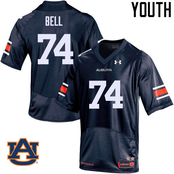 Youth Auburn Tigers #74 Wilson Bell College Football Jerseys Sale-Navy