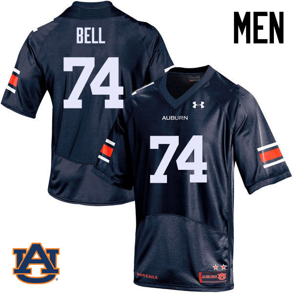 Men Auburn Tigers #74 Wilson Bell College Football Jerseys Sale-Navy