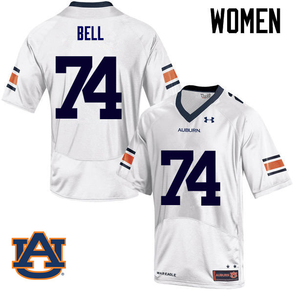 Women Auburn Tigers #74 Wilson Bell College Football Jerseys Sale-White