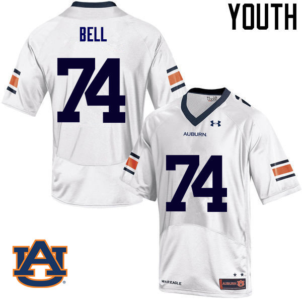 Youth Auburn Tigers #74 Wilson Bell College Football Jerseys Sale-White