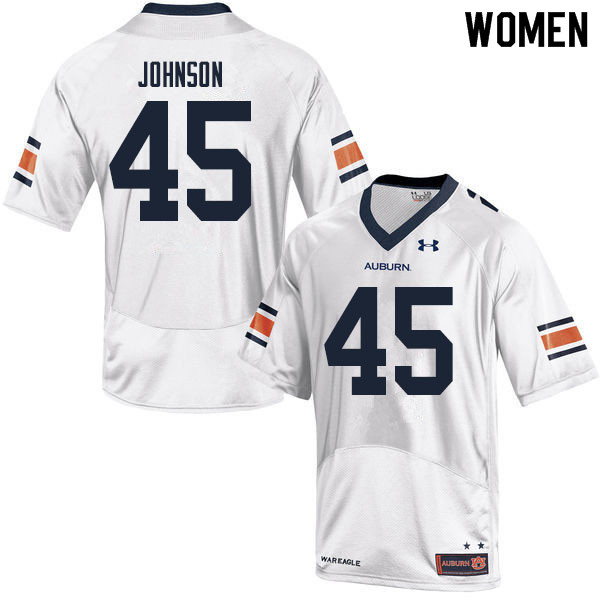 Women #45 Caleb Johnson Auburn Tigers College Football Jerseys Sale-White