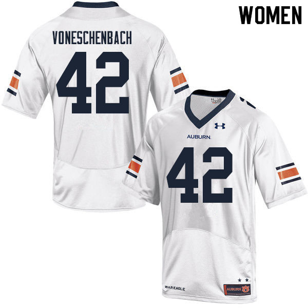 Women #42 Jacob vonEschenbach Auburn Tigers College Football Jerseys Sale-White