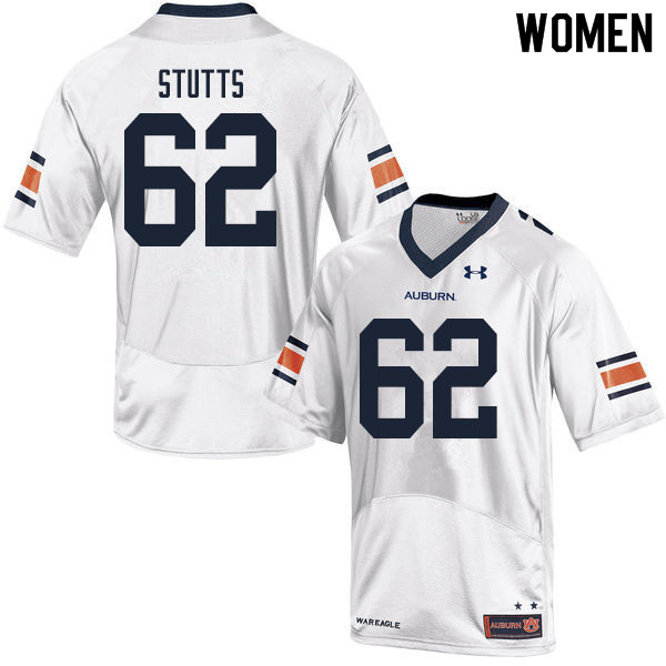 Women #62 Kameron Stutts Auburn Tigers College Football Jerseys Sale-White