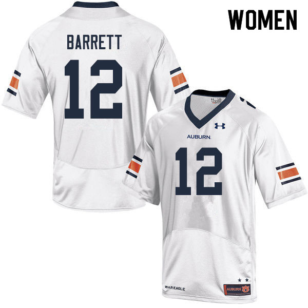 Women #12 Devan Barrett Auburn Tigers College Football Jerseys Sale-White