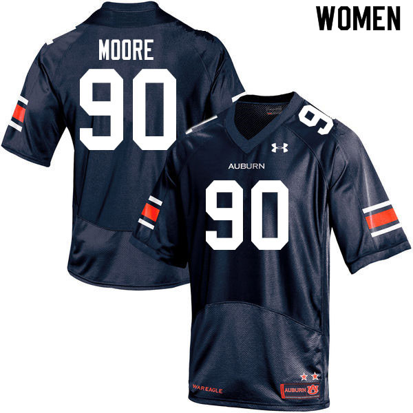 Women #90 Charles Moore Auburn Tigers College Football Jerseys Sale-Navy