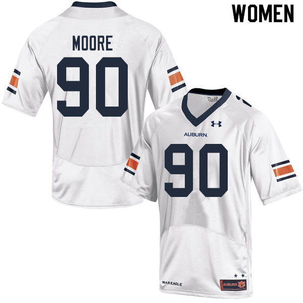 Women #90 Charles Moore Auburn Tigers College Football Jerseys Sale-White