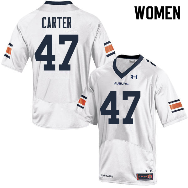 Women Auburn Tigers #47 Craig Carter College Football Jerseys Sale-White