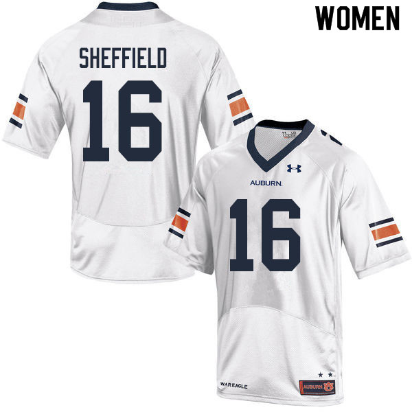 Women #16 Jashawn Sheffield Auburn Tigers College Football Jerseys Sale-White