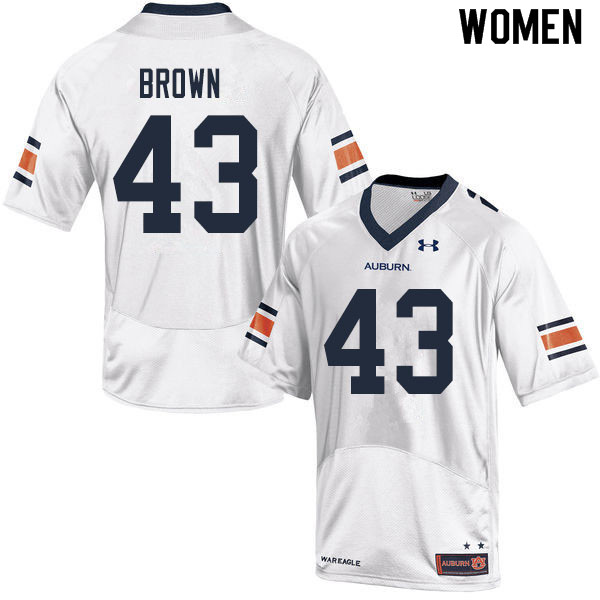 Women #43 Kameron Brown Auburn Tigers College Football Jerseys Sale-White