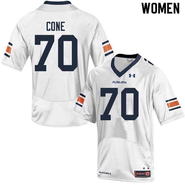 Women #70 Michael Cone Auburn Tigers College Football Jerseys Sale-White