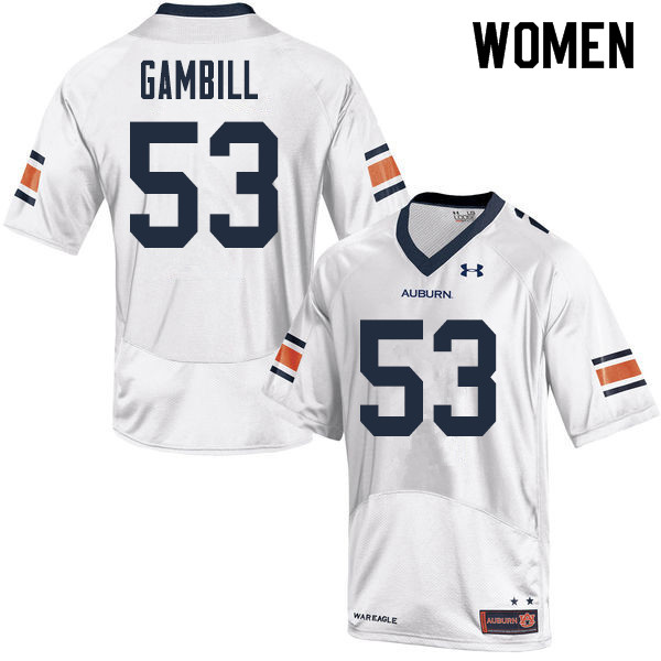 Women Auburn Tigers #53 Phelps Gambill College Football Jerseys Sale-White