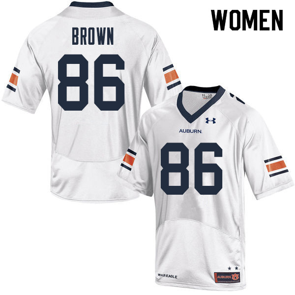 Women Auburn Tigers #86 Tucker Brown College Football Jerseys Sale-White