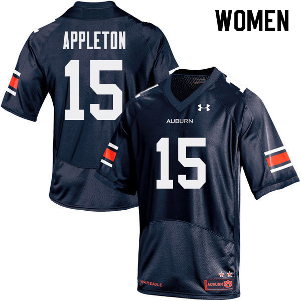 Women Auburn Tigers #15 Wil Appleton College Football Jerseys Sale-Navy