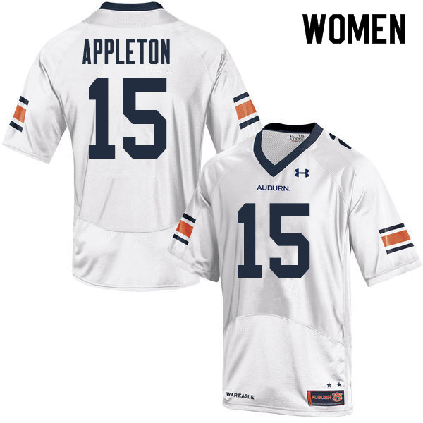 Women Auburn Tigers #15 Wil Appleton College Football Jerseys Sale-White