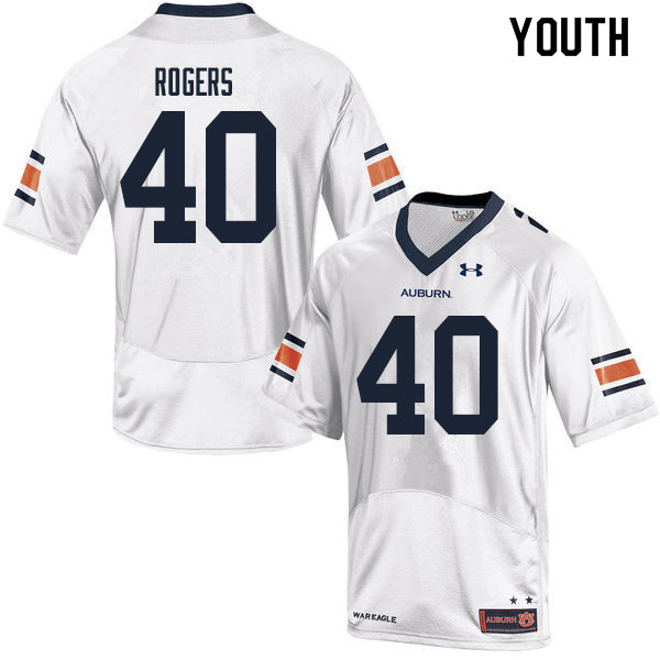 Youth #40 Jacob Rogers Auburn Tigers College Football Jerseys Sale-White