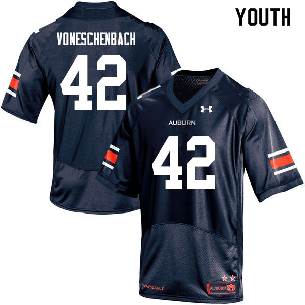 Youth #42 Jacob vonEschenbach Auburn Tigers College Football Jerseys Sale-Navy