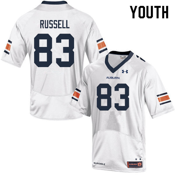 Youth #83 Malcolm Russell Auburn Tigers College Football Jerseys Sale-White