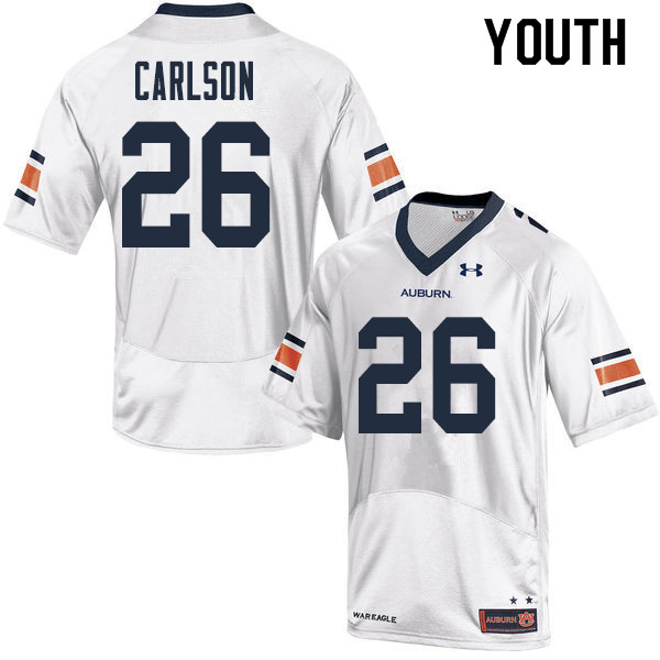 Youth Auburn Tigers #26 Anders Carlson College Football Jerseys Sale-White