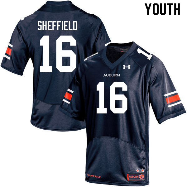 Youth #16 Jashawn Sheffield Auburn Tigers College Football Jerseys Sale-Navy