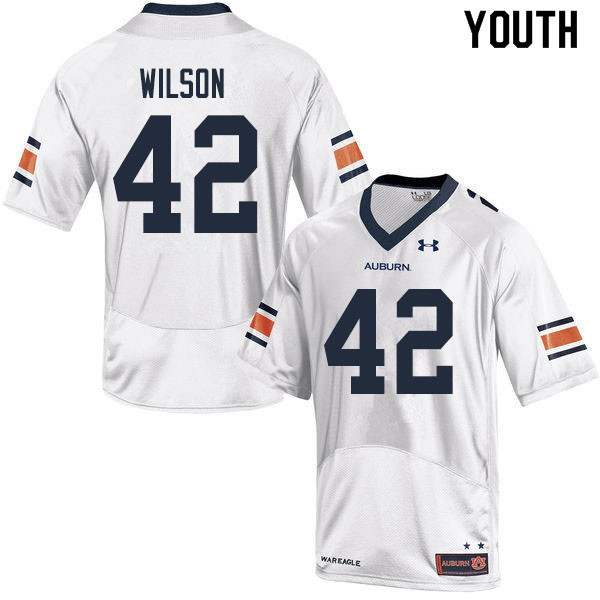 Youth #42 Jay Jay Wilson Auburn Tigers College Football Jerseys Sale-White