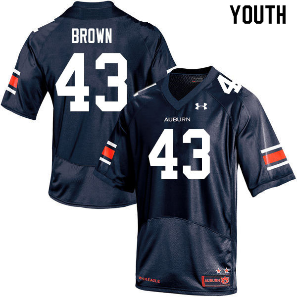 Youth #43 Kameron Brown Auburn Tigers College Football Jerseys Sale-Navy