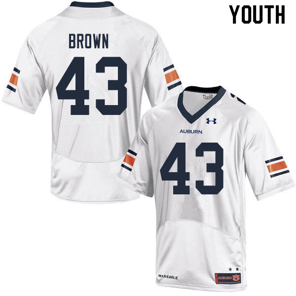 Youth #43 Kameron Brown Auburn Tigers College Football Jerseys Sale-White