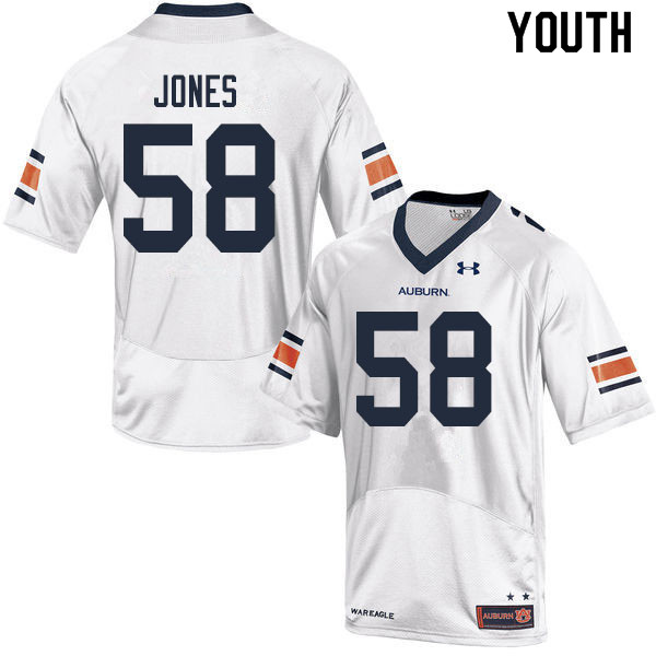Youth #58 Keiondre Jones Auburn Tigers College Football Jerseys Sale-White